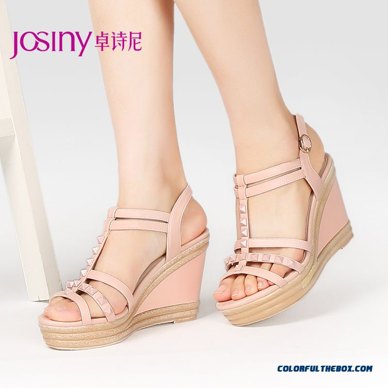 New Spring Sandals Wedge Heel Open-toed Women Shoes Higher Heel Bucklepopular In European And American