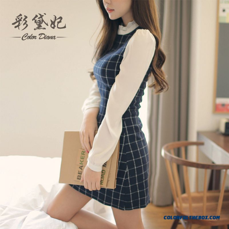 New Spring Summer Women Dress Cheap Package Hip Long-sleeved Plaid Ladies