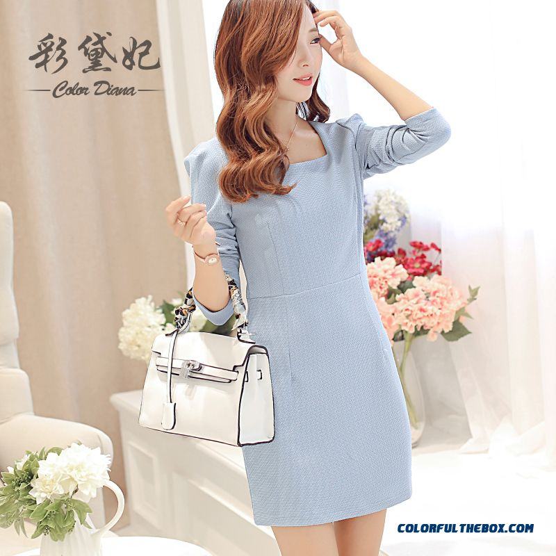 New Spring Summer Women Dress Slim Fashion High-waisted Long-sleeved Blue