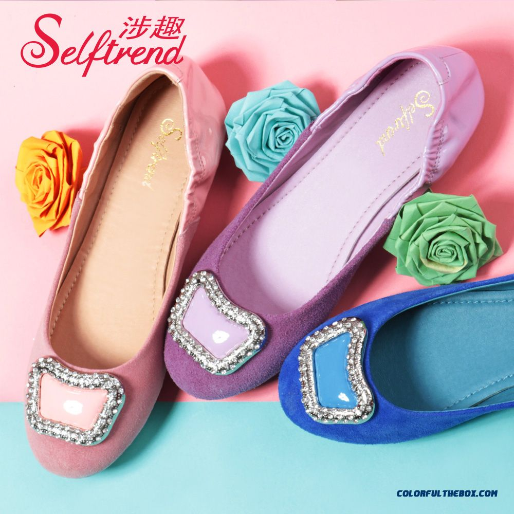 New Spring Sweet Rhinestones Square Buckle Patent Leather Stitching Round-toe Women Flat Shoes