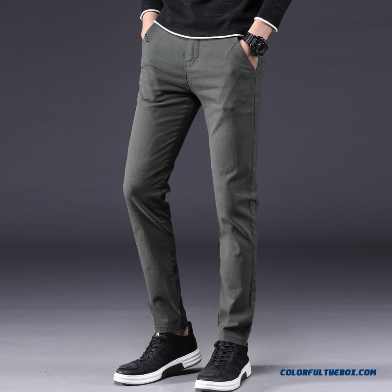 New Straight Leisure Men's Slim Pants 2019 Military Green Loose Spring Trend