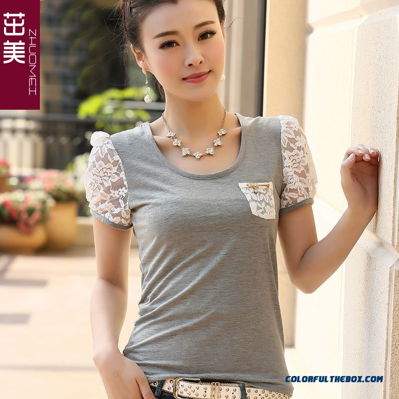 New Style Clothing Ladies Square Neck Elastic Slim And Thin Lace Stitching T-shirt Short-sleeved