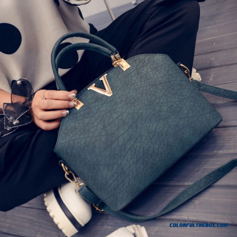 New Style Fashion Shell Bags Nubuck Leather Women Shoulder Bag V-shaped Metal Decoration