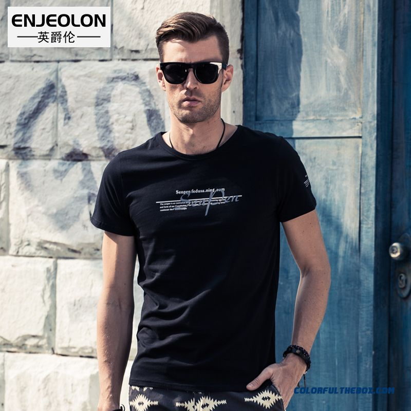 New Style For Men Short-sleeved Tees Slim Letters Printed Cotton Crew Neck