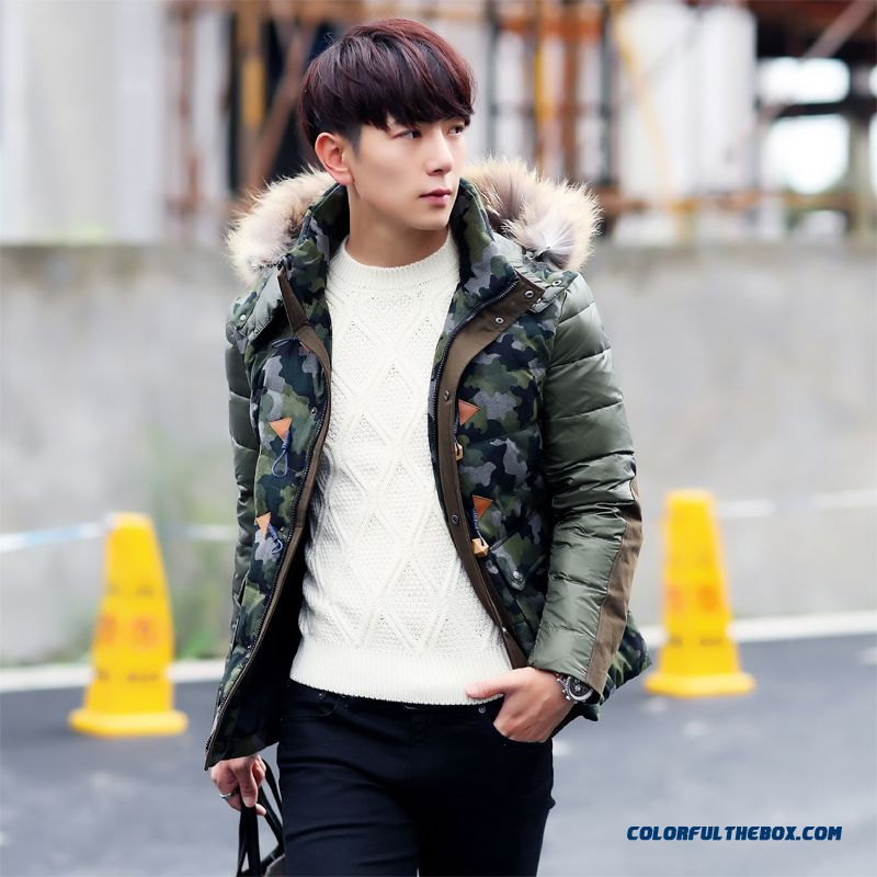 New Style Men Short Thicken Camouflage Hooded Fashion Casual Fur Collar Jacket
