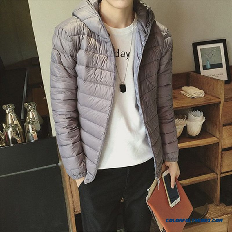 New Style Men Slim Warm Thin Grey Hooded Jacket Hot Selling