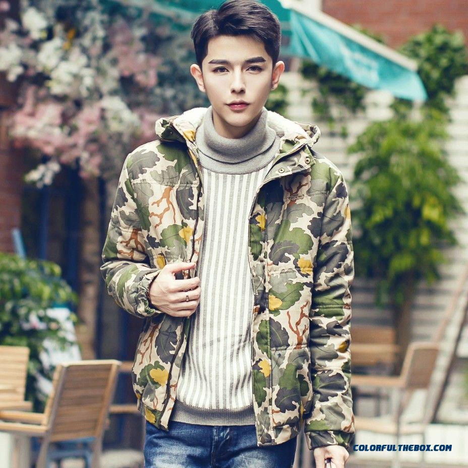 New Style Men Thicken Cotton Hooded Jacket Casual Winter Clitiong