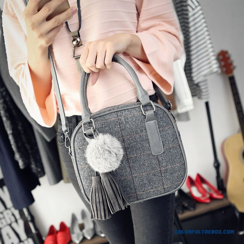New Style Women Bags With Fringe Flap Pendant Shoulder Bags Round Tartan Bags