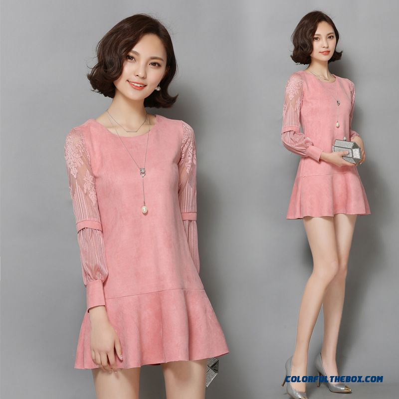 New Suede Women Hollow Long-sleeved Korean Fashion Thin Solid Color Dress