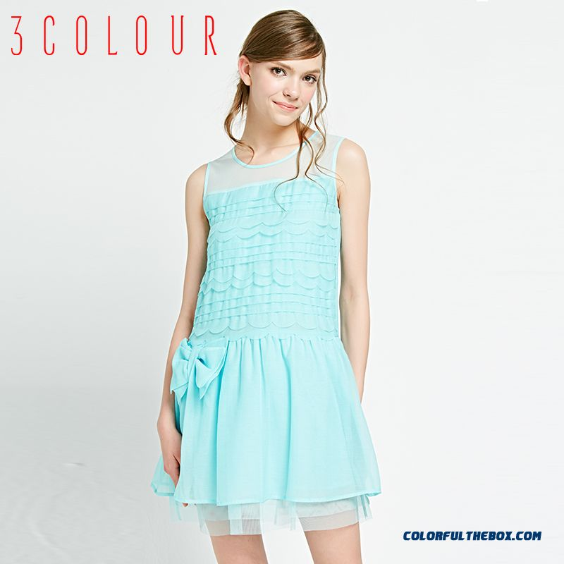 New Summer Bow-tie Decoration Design Solid Color Sleeveless Dress Women