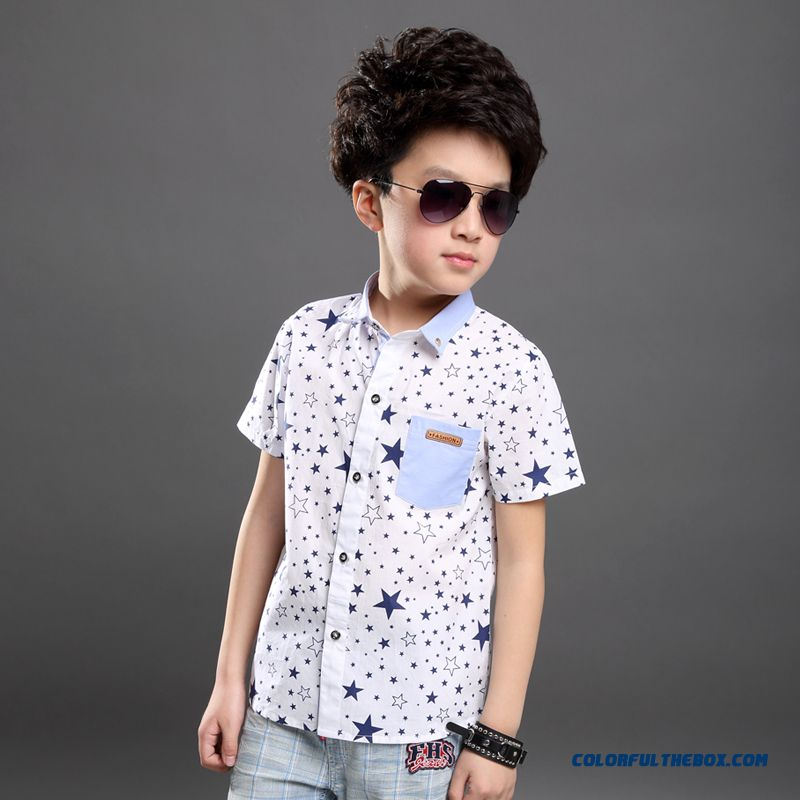 New Summer Clothes Handsomne Boys Kids Shirts Pentagram Printing Short-sleeved