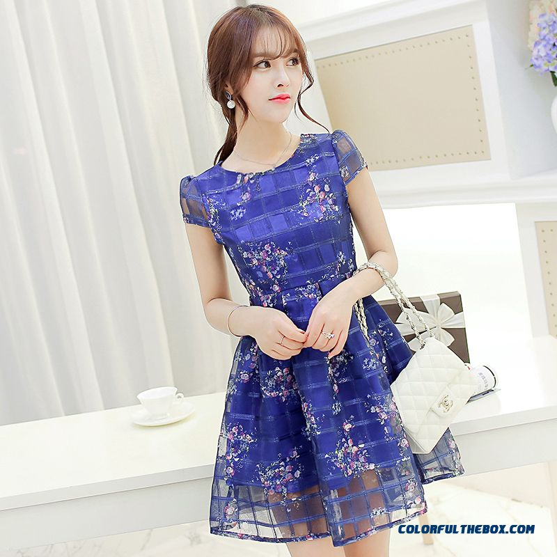 New Summer Ladies Women Dress Crew Neck Blue Hot Selling