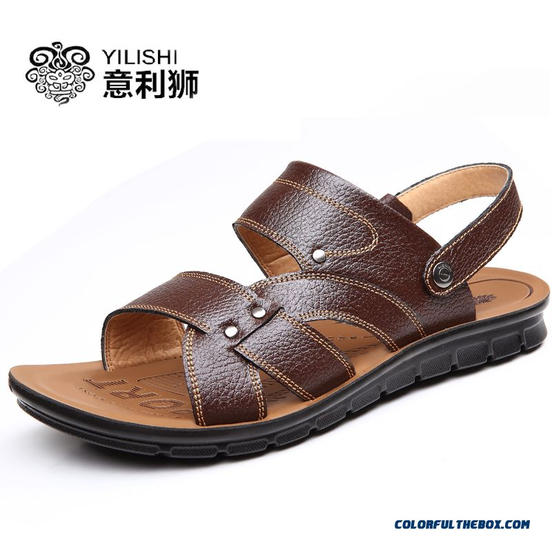 New Summer Leather Beach Shoes Men Breathable Casual Sandals