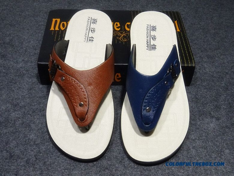 New Summer Leather Flip Flops Casual Breathable Antiskid Slippers For Men