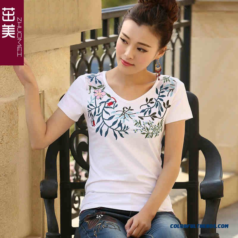 New Summer National Halter Slim T-shirt Short-sleeved Women Promotion