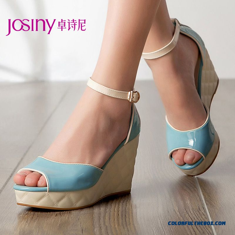 New Summer Sandals High With Wedge Heel Open-toed Women Shoes Chic