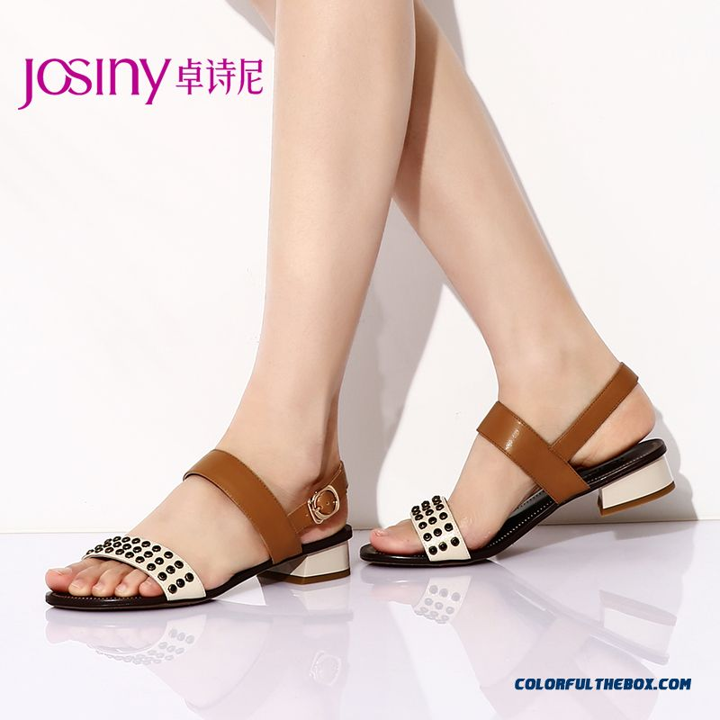 New Summer Sandals Middle-heels Open-toed Women Shoes Rough Heel Buckle Rivet