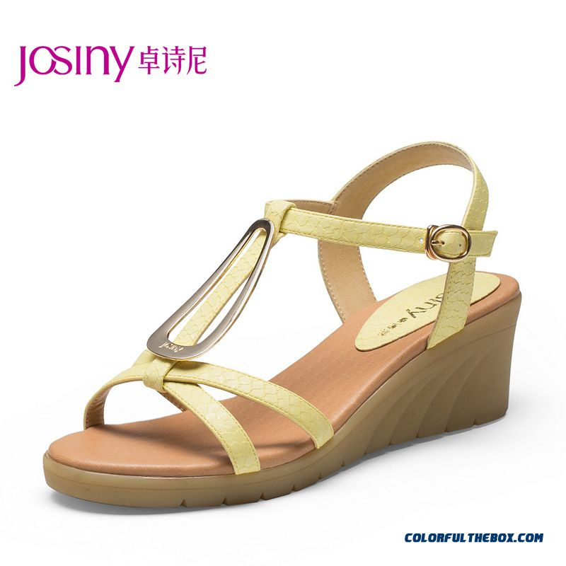 New Summer Sandals Sexy Wedge Heel Middle-heels Women Shoes With Buckle