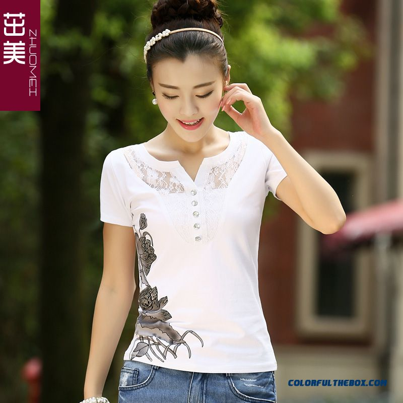 New Summer Short-sleeved T-shirt Women V-neck Lace Thin Large Size Printing Ink Lotus