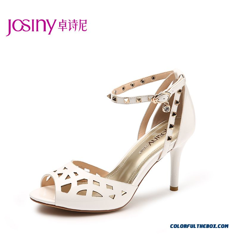 New Summer Stiletto Sandals Hollow Rivet Decorative Women Shoes