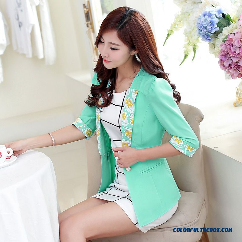 New Summer Women Fashion Suit Coat Three Quarter Sleeve