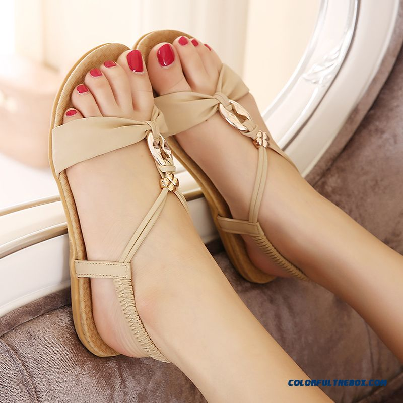 New Summer Women Large Size Flat With Flat Beach Sandals Casual Shoes