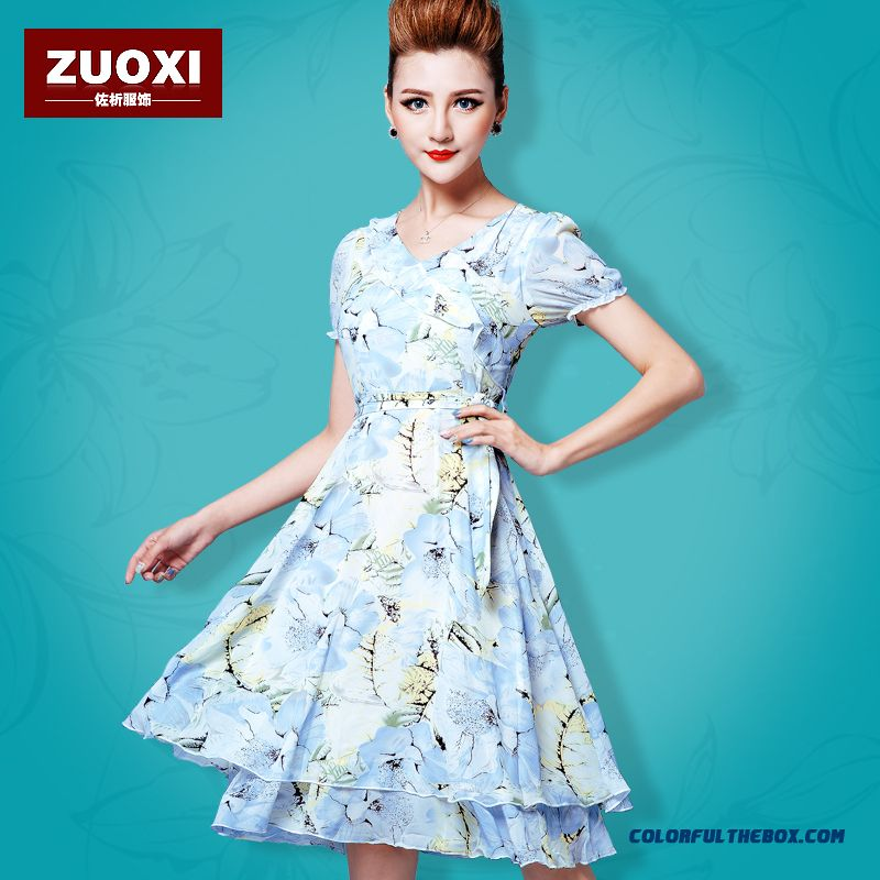 New Summmer Women Dress Printed Floral Chiffon Slim Luxury