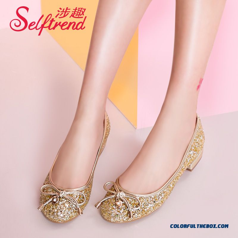 New Sweet Bow-tie Round-toe Flat Bottom Sequins Shallow Mouth Women Shoes