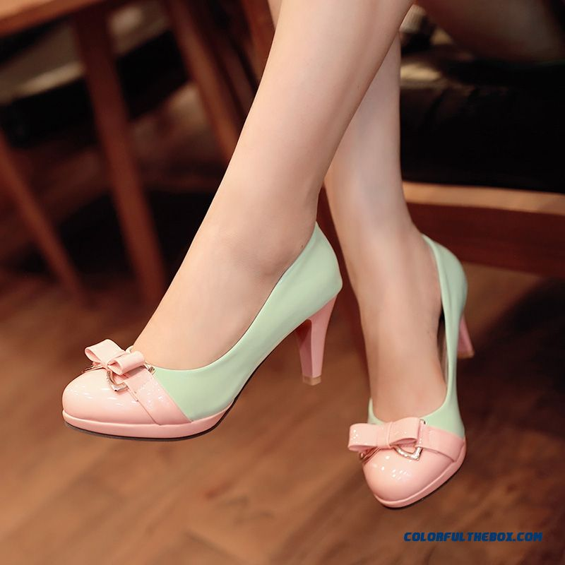 New Sweet Bow-tie Shallow Mouth Fine Heel High-heeled European And American Fashion Women Shoes Spell Color Pumps
