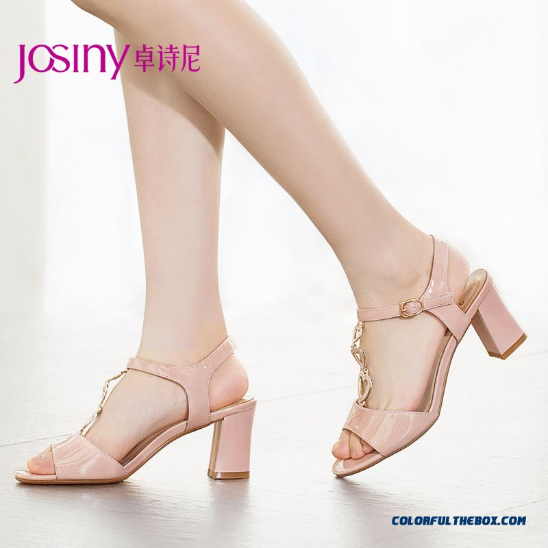 New Sweet Summer Open-toed High-heeled Patent Leather Sandals Women Metal Decorative