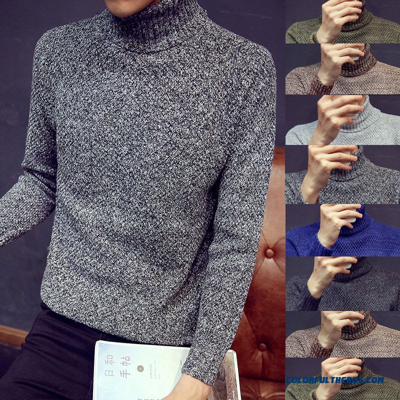 New Thick Winter Knitwear Slim Long-sleeved Diamond Men's Sweaters With High Collar
