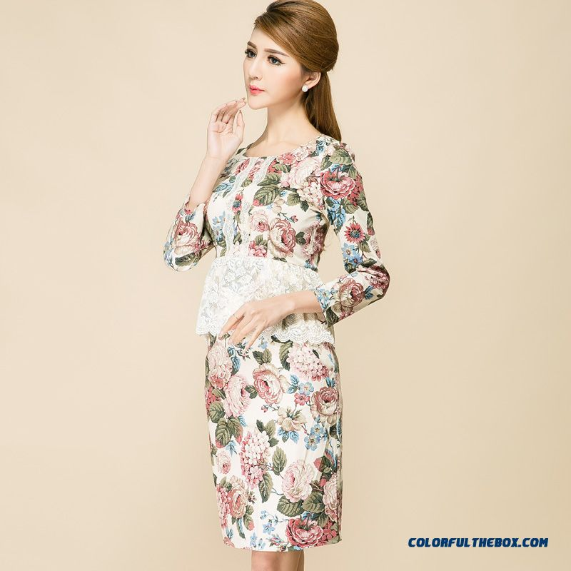 New Three Quarter Sleeve High Waist Lace Stitching Fake Two-piece Women Dress Suit