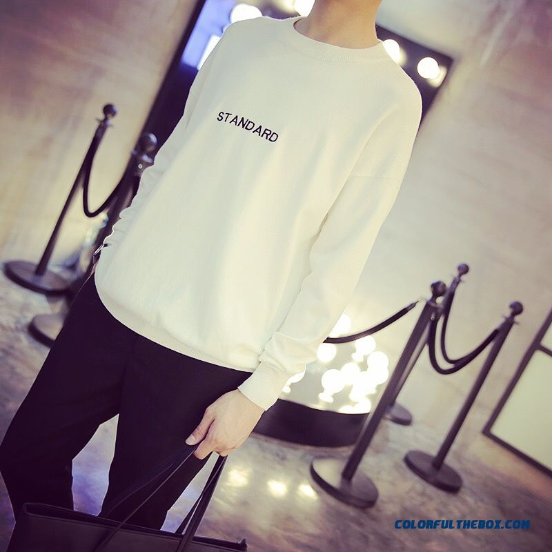 New Tide Men Round Neck Knitwear Loose Pullover Long-sleeved Sweaters Embroidered Letters