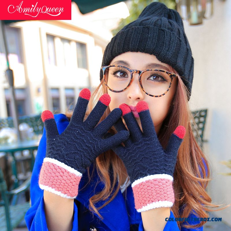 New Touch-screen Phone Gloves Cute Couple Mittens Women Wimter Accessories Keep Warm