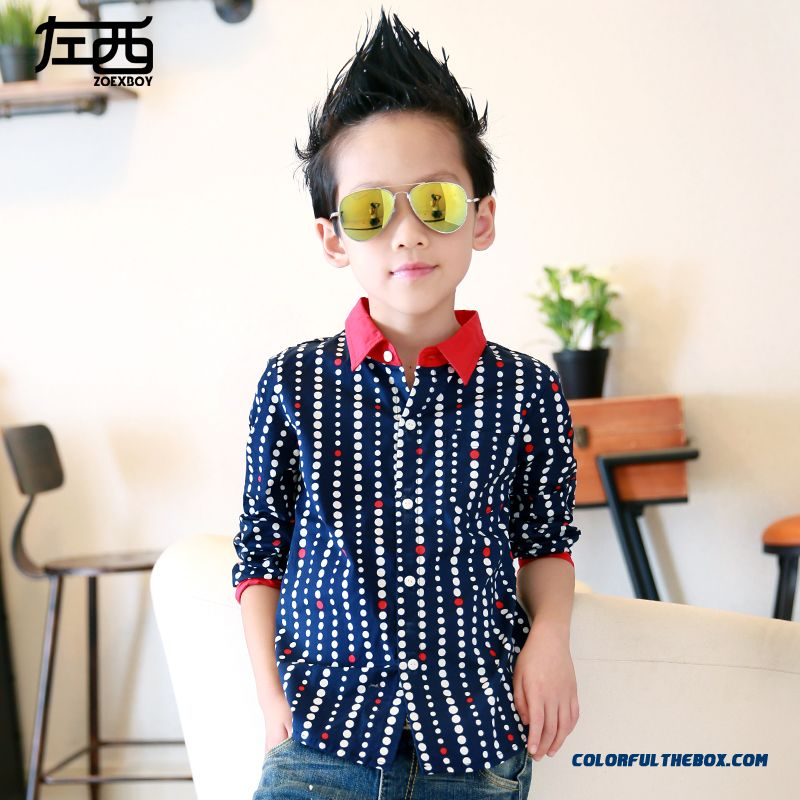New Trend Of Comfortable Vogue Boys Blouse Shirts Long-sleeved Dot Clothing