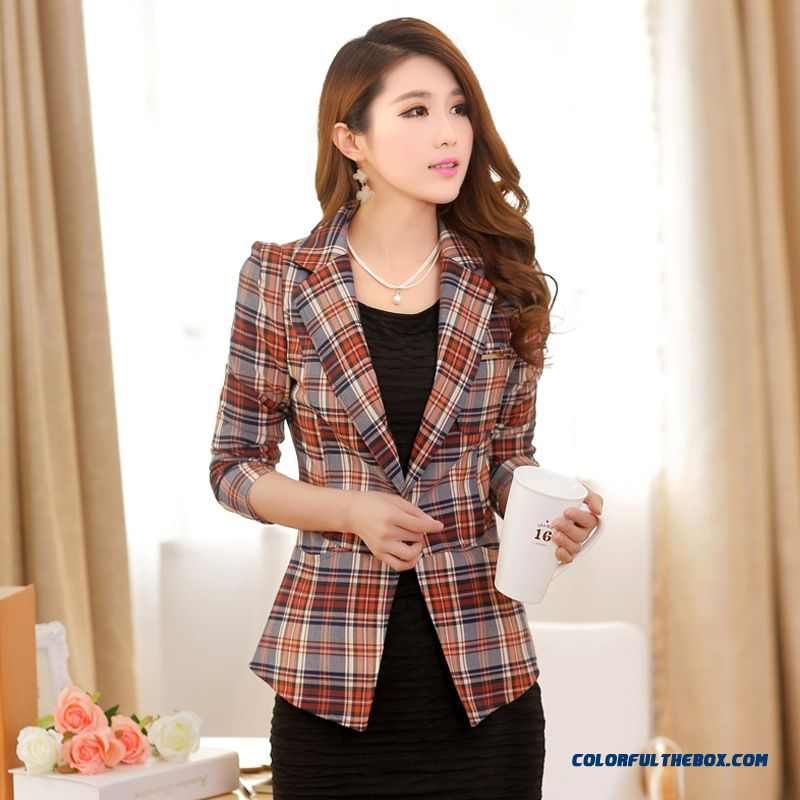 New Trend Of Fashion Women's Fashion Korean Slim Plaid Small Suit Coats - more images 1