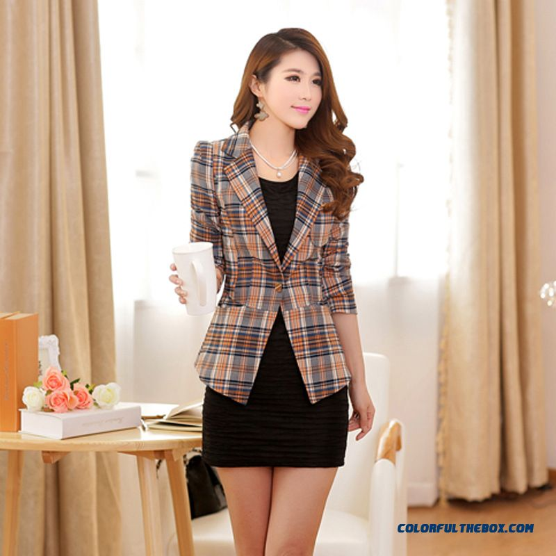 New Trend Of Fashion Women's Fashion Korean Slim Plaid Small Suit Coats - more images 2