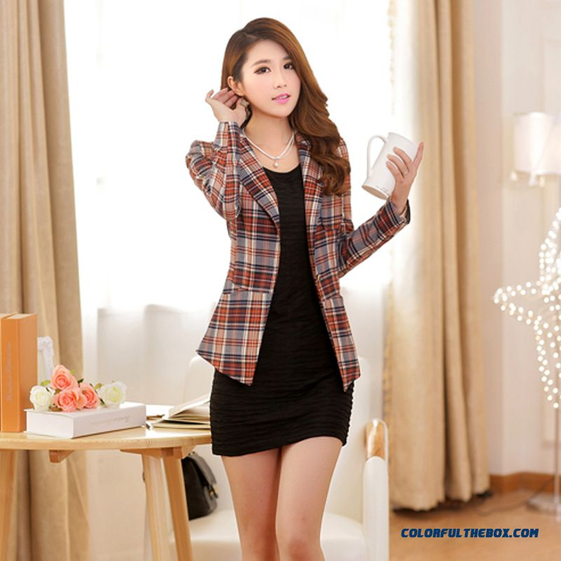 New Trend Of Fashion Women's Fashion Korean Slim Plaid Small Suit Coats - more images 3