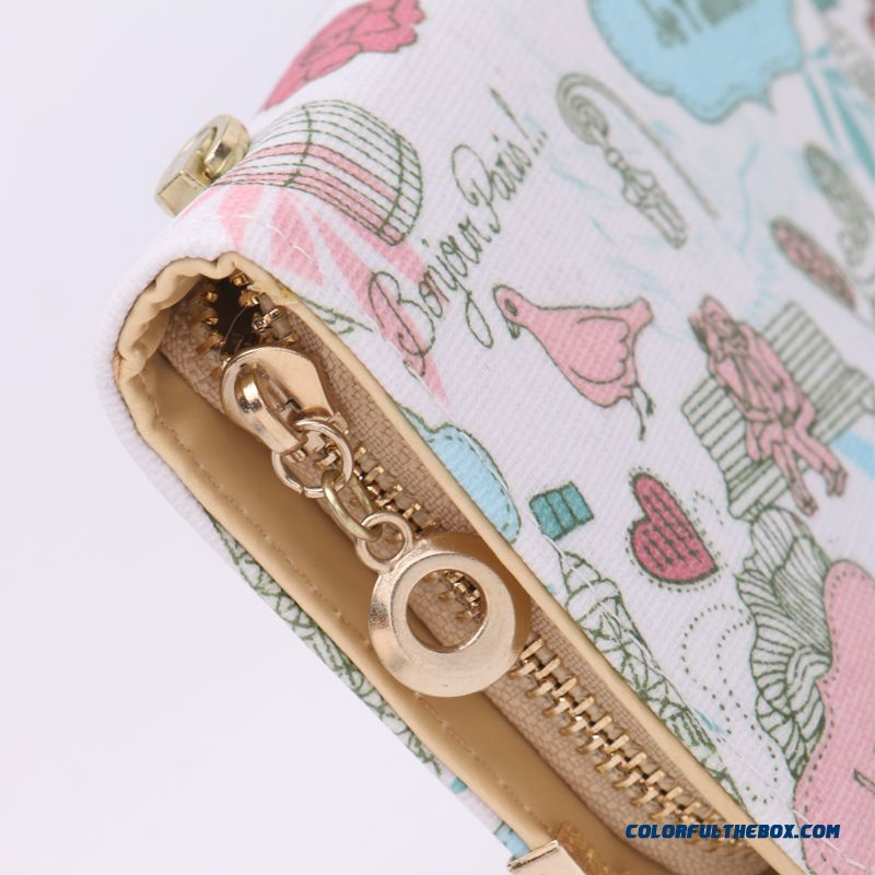 New Version Zipper Printed Clutch Women's Wallet Long Tide Free Shipping - more images 3