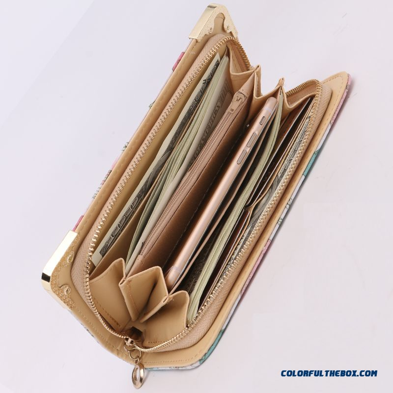 New Version Zipper Printed Clutch Women's Wallet Long Tide Free Shipping - more images 4