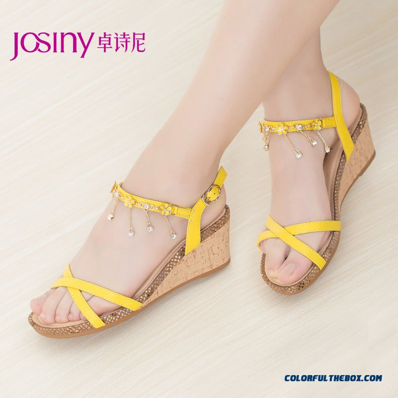 New Wedge Sandals Sexy Rhinestones Women Shoes Yellow