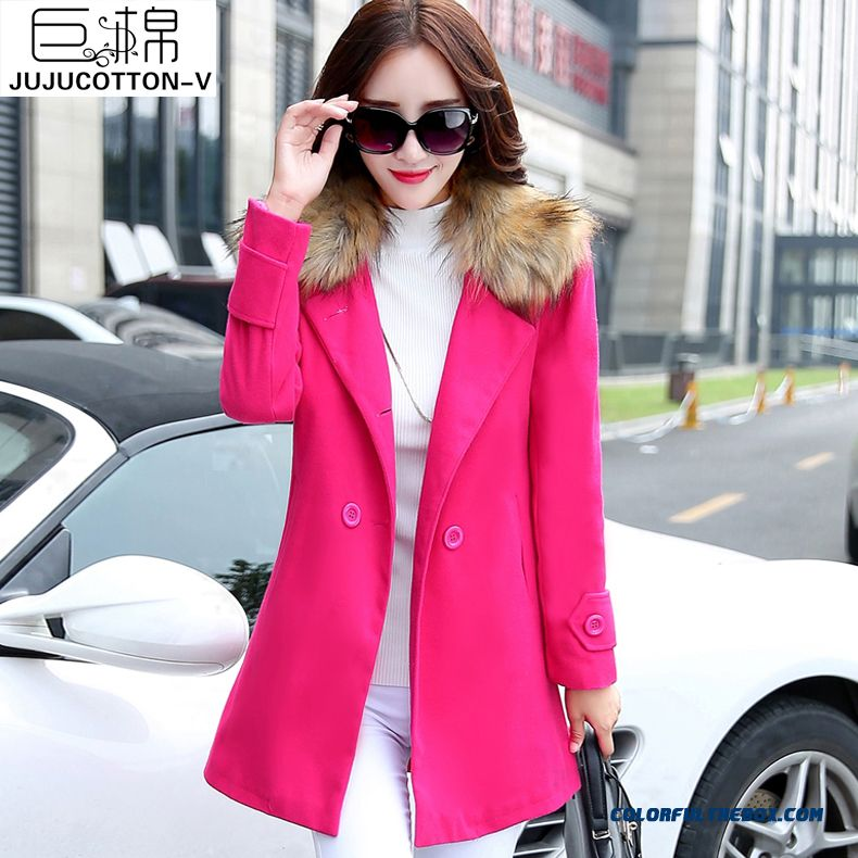 New Winter 2015 Women's Wool Coat Long Section Fur Collar Slim Medium Style Tide