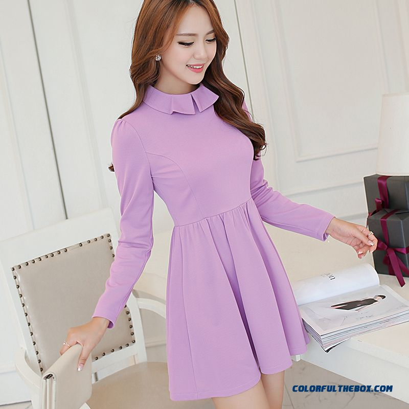 New Winter And Autumn Women Dress Slim Solid Collor Purple Elegant