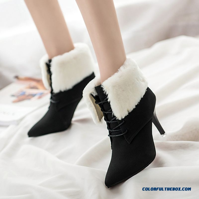 New Winter Boots Nubuck Leather Lace Pointed Fine Heel For Girls Shoes