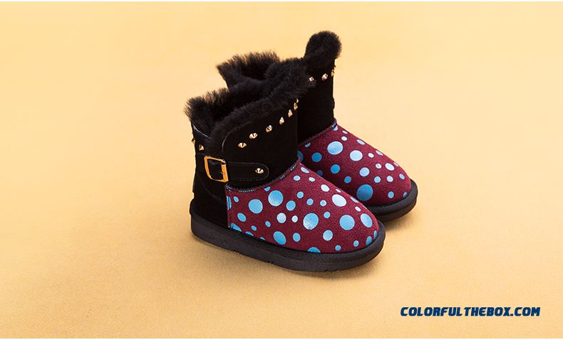 New Winter Boots Shoes Boys Girls Leather Boots Low Tube Boots