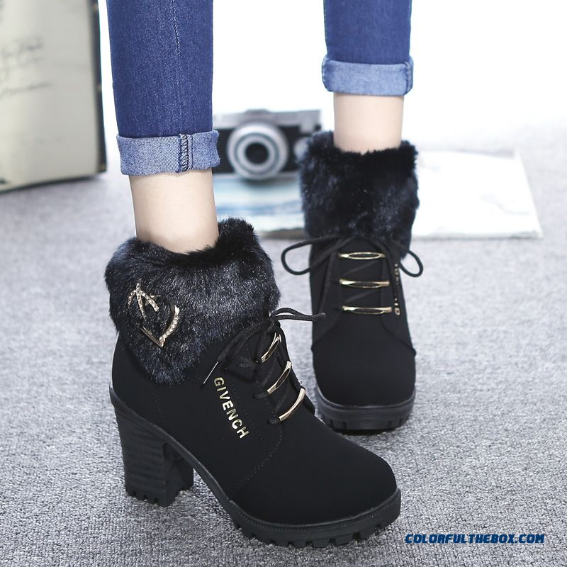 cheap new winter boots thick heel high heeled shoes