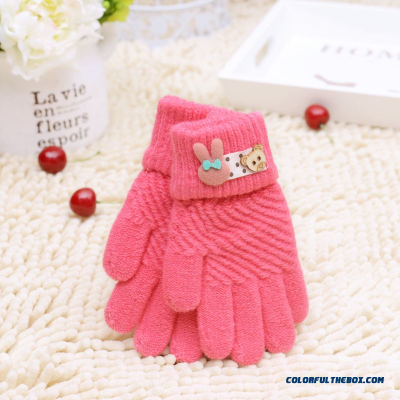New Winter Boys And Girls Kids Five Fingers Warmth Gloves Cute Gloves Winter Models Cartoon Baby Knitted Gloves - more images 1