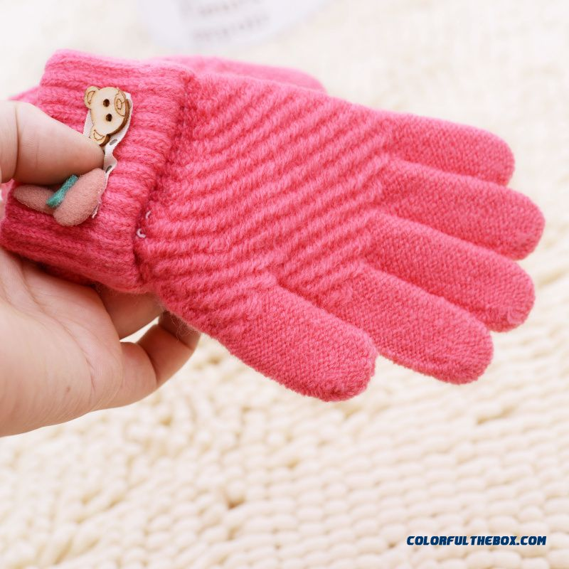 New Winter Boys And Girls Kids Five Fingers Warmth Gloves Cute Gloves Winter Models Cartoon Baby Knitted Gloves - more images 2