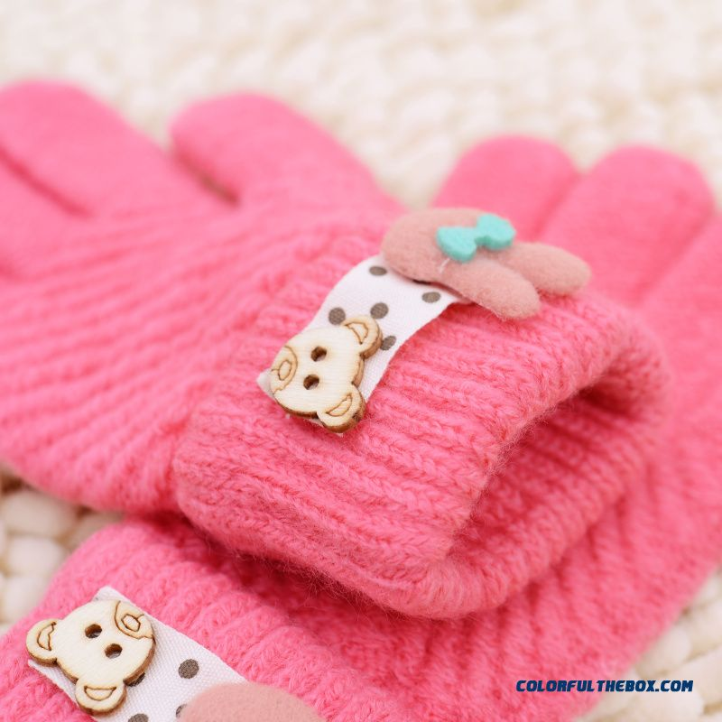 New Winter Boys And Girls Kids Five Fingers Warmth Gloves Cute Gloves Winter Models Cartoon Baby Knitted Gloves - more images 3