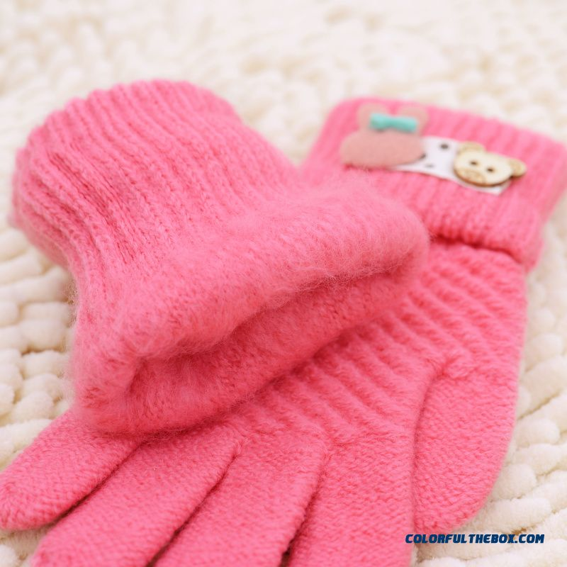 New Winter Boys And Girls Kids Five Fingers Warmth Gloves Cute Gloves Winter Models Cartoon Baby Knitted Gloves - more images 4